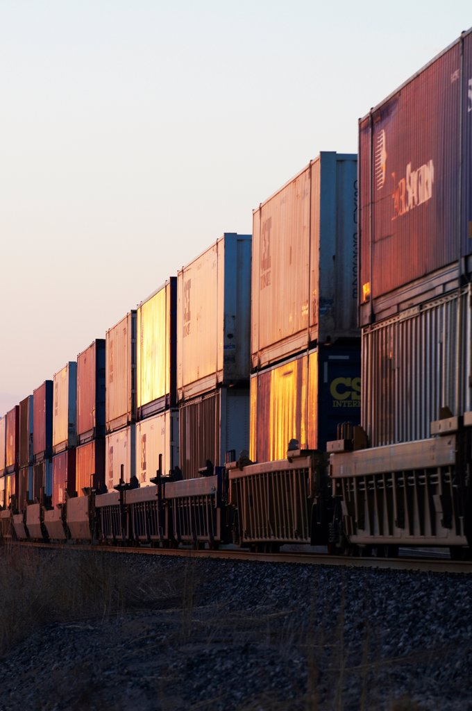 Stock Photo: 4316-6489 Rail cars of passing freight train, Marfa, Texas, USA