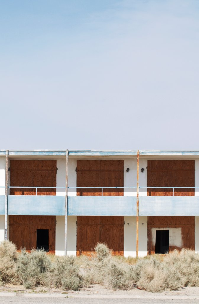 Stock Photo: 4316-6574 Abandoned motel on shore of Salton Sea, Bombay Beach, Imperial County, California, USA