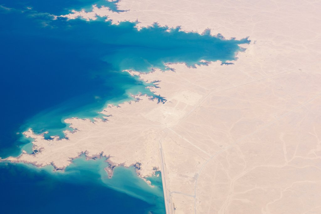 Aerial view of a lake, Lake Qadisiyah, Al-Anbar, Al-Haditha, Iraq : Stock Photo