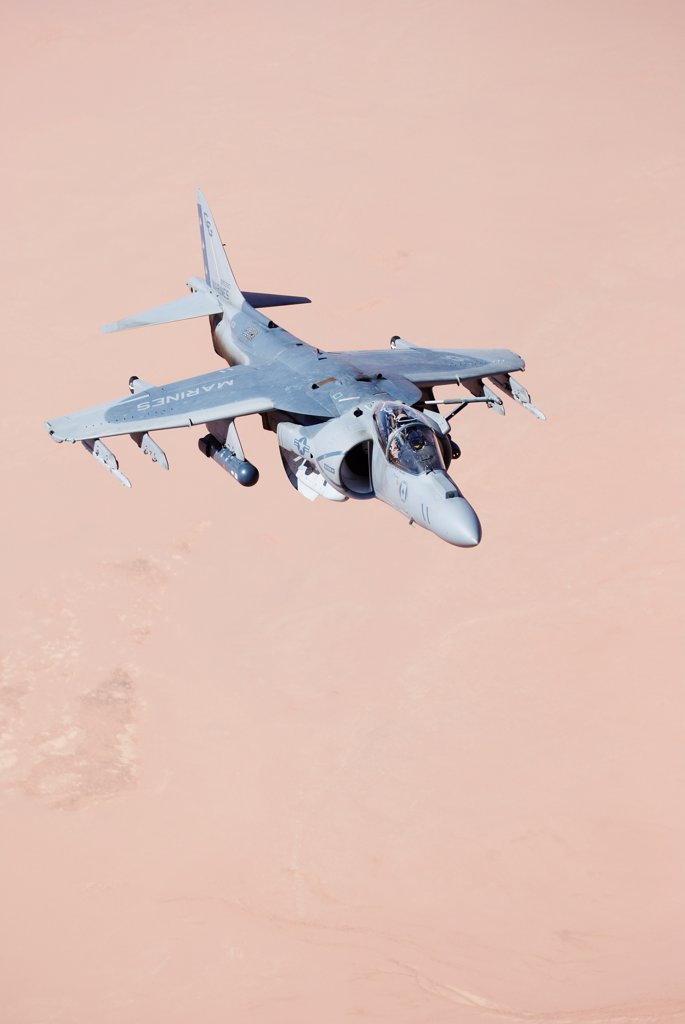 Stock Photo: 4316-6624 US Marine Corps AV-8B Harrier during a combat operation over the Al Anbar Province, Iraq