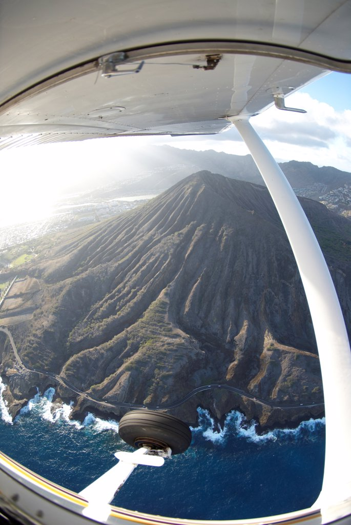 Aerial view of the Koko Head an ancient tuff cone from Cessna 172 light aircraft, Oahu, Hawaii, USA : Stock Photo