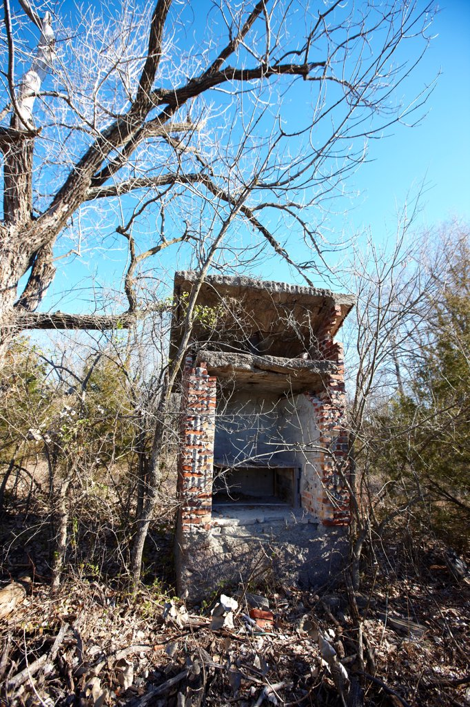 USA, Oklahoma, Picher, Abandoned and dilapidated structure : Stock Photo