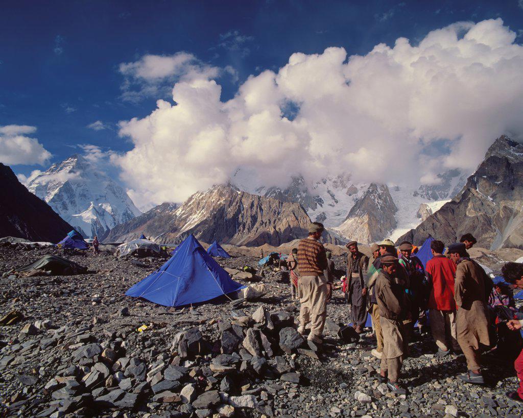 The Bustle of Balti Porters Below K2 : Stock Photo