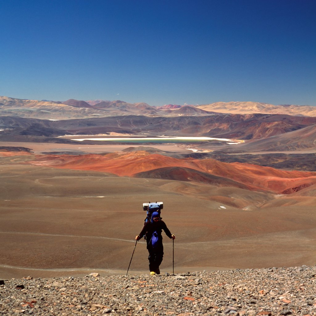 Struggling Against High Desert Elements on Argentina's Cerro Pissis : Stock Photo
