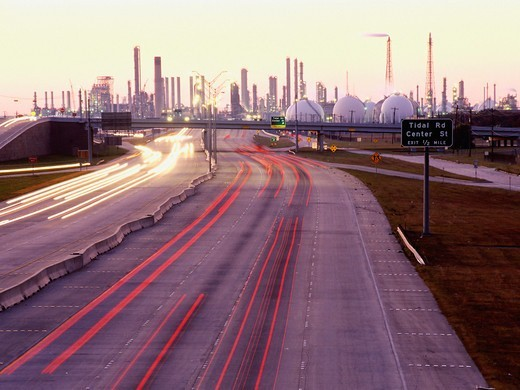 Stock Photo: 4325-537 Busy Road to an Oil Refinery