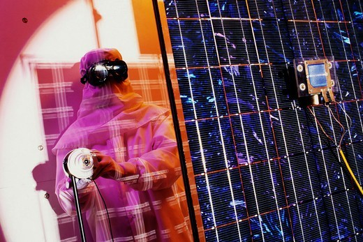Stock Photo: 4325-633 Scientist Tests Photovoltaic Cells