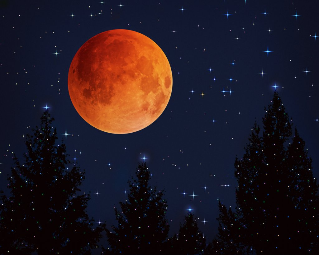Stock Photo: 4329-181 A full moon, red from eclipse, hangs over lighted pine trees. Digitally composited.