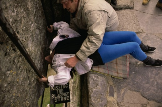 Stock Photo: 433-1197A High angle view of tourists kissing the Blarney Stone, Blarney Castle, County Cork, Ireland