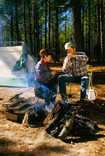 Stock Photo: 433-733D Father camping with son in forest