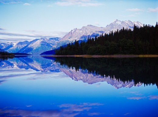 Stock Photo: 4332-1048 USA, Alaska, Lake Clark National Park, Lake Clark, Glassy water reflection