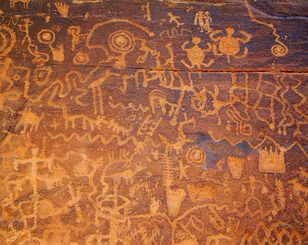 Stock Photo: 4332-2364 Southern Sinagua petroglyphs on a sandstone face, Coconino National Forest, Arizona.