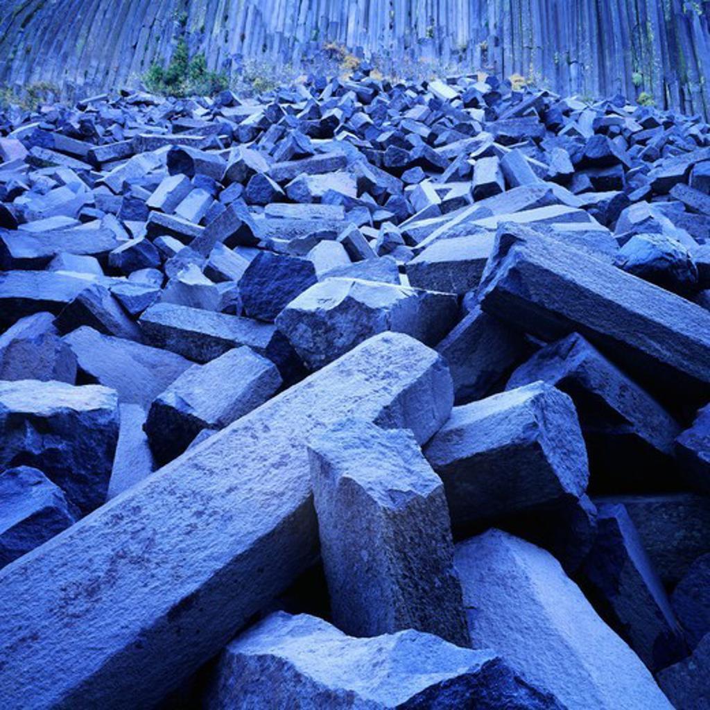 Stock Photo: 4332-324 USA, California, Devils Postpile National Monument, Jumbled pile of columnar basalt at base of Devils Postpile