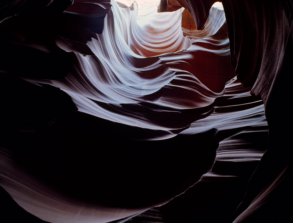 Stock Photo: 4332-3554 USA, Arizona, Colorado Plateau, Sculptured chamber in slickrock slot canyon