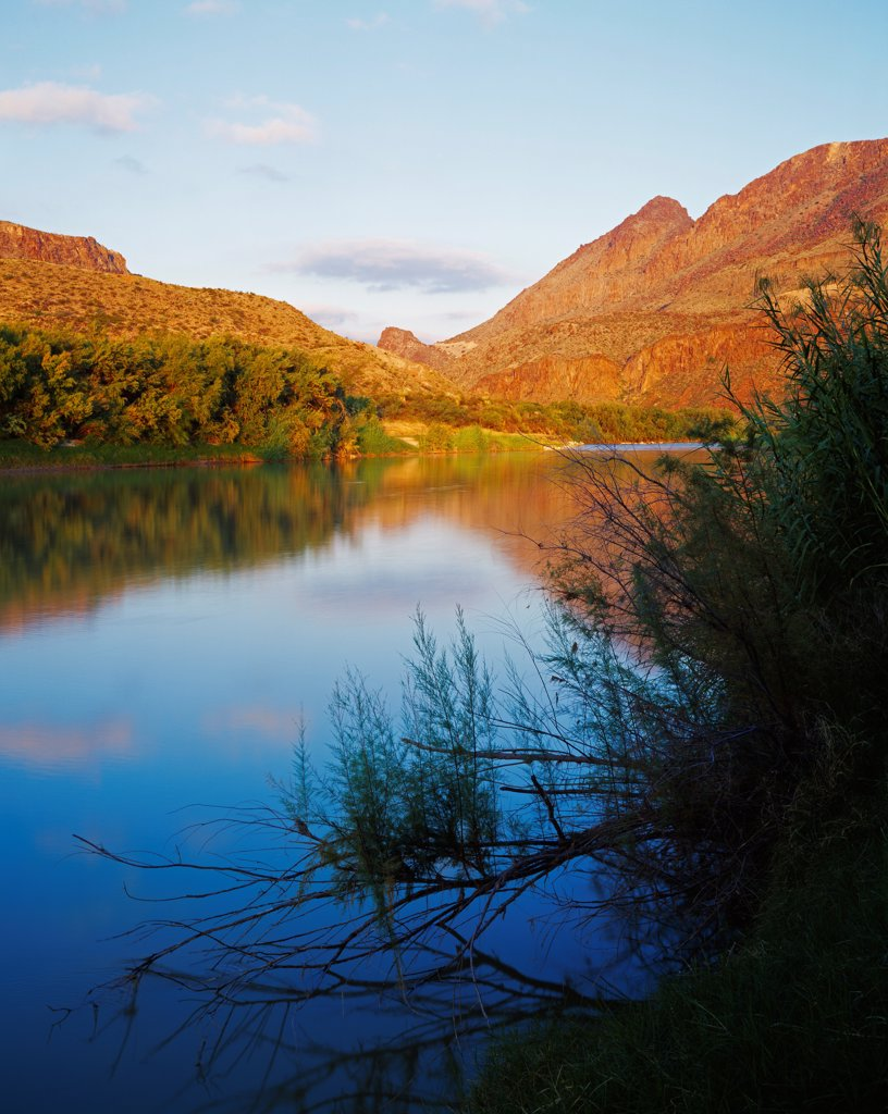 USA, Texas, Mexico, Chihuahua, Big Bend Ranch State Natural Area, Rio Grande river on international border, view from west of Lajitas : Stock Photo