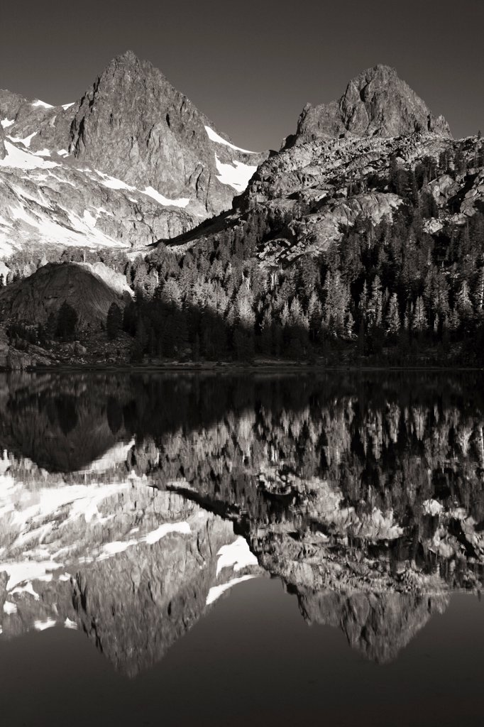 Stock Photo: 4334-483 Banner Peak and Mount Ritter reflecting in Ediza Lake in the Ansel Adams Wilderness, California.