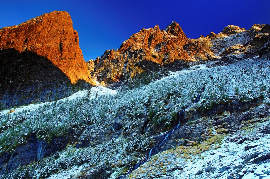 Stock Photo: 4334-683 October snow on Morning Star Peak in Wirtz Basin, from Headlee Pass Trail.