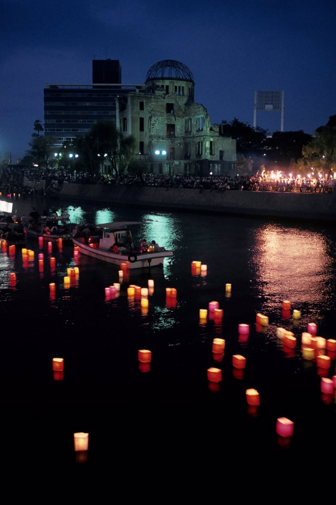 Lanterns Representing A-Bomb Victims Floating Out to Sea : Stock Photo