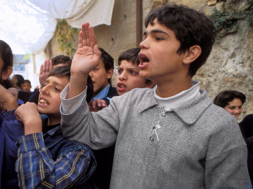 Palestinian Children Using Sign Language : Stock Photo