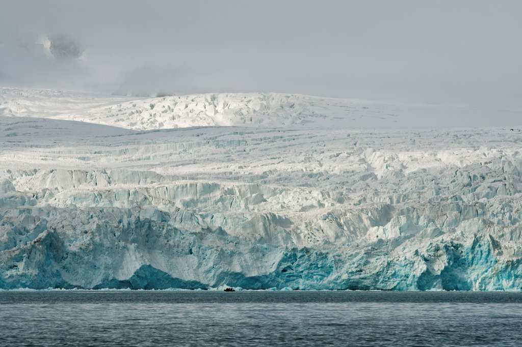Stock Photo: 4340-2002 Close up of Monacobreen-a massive glacier in Liefdefjorden, northwestern Svalbard, Norway, in summertime.