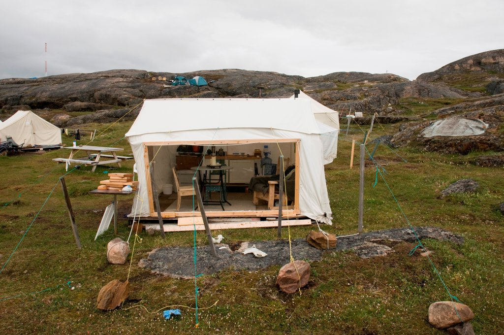 Stock Photo: 4340-2492 Interior view of a tent tied down with rocks located in a scientific base camp along the Sylvia Grinnell River, Sylvia Grinnell Territorial Park, outside the capital city of Iqaluit, Baffin Island, Nunavut, Canada