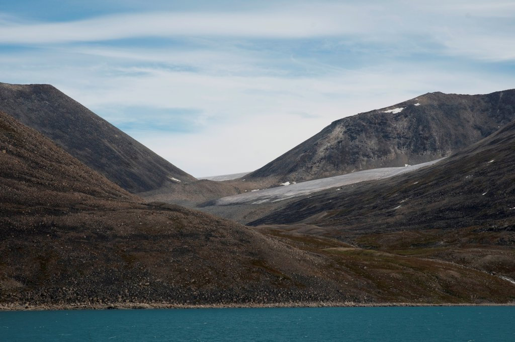 Stock Photo: 4340-2521 Barren rocky landscape of a melting glacier on the northwest corner of Baffin Island, Northwest Passage in August, Nunavut Territory, Canada