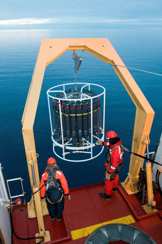 Stock Photo: 4340-2530 ArcticNet scientists deploy the CTD-Rosette sampler from the CGGS Amundsen, the rosette takes water samples from certain depths, Baffin Bay, Northwest Passage, Nunavut, Canada