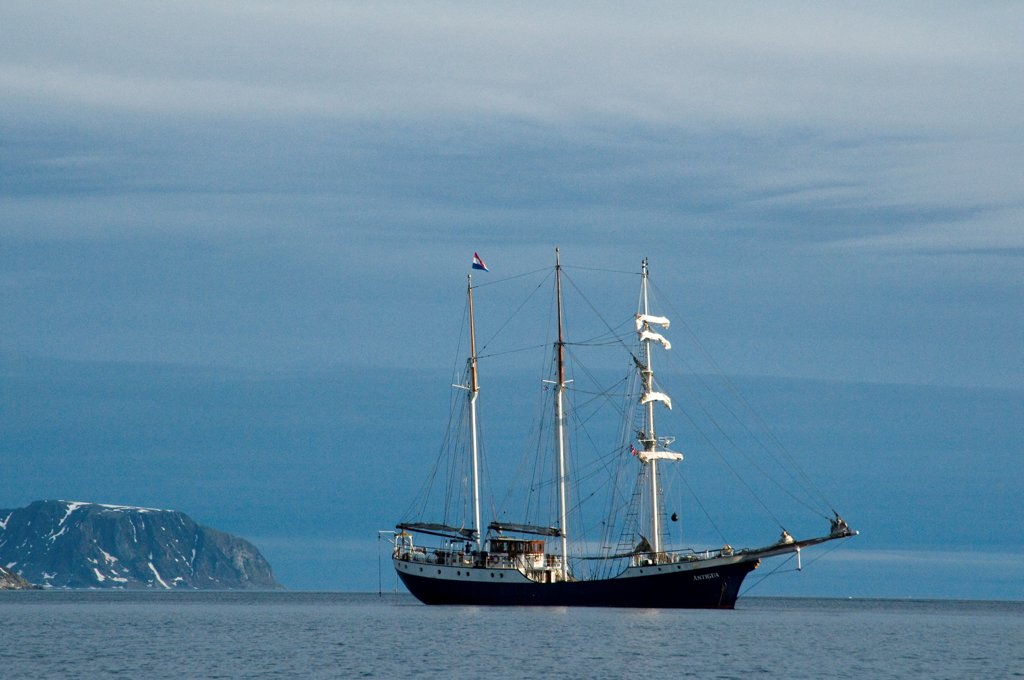 Stock Photo: 4340-2812 Norway, Svalbard Archipelago, Spitsbergen, Greenland Sea, Barquentine tall ship 'Antigua,' world wide charter expedition ship