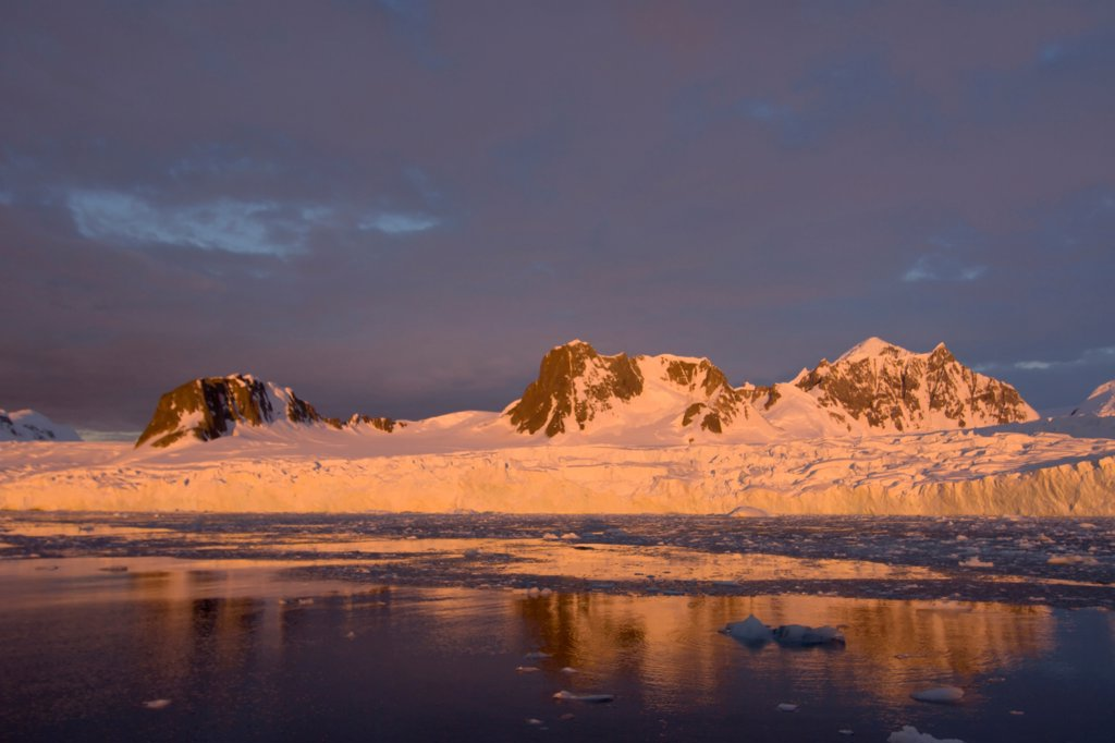 Frozen Glacial Landscape at Sunset : Stock Photo