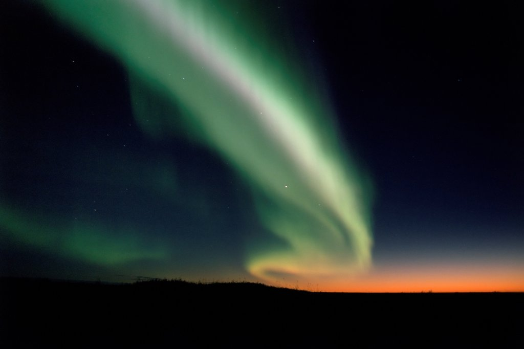 Northern Lights Over the North Slope of the Brooks Range at Sunset : Stock Photo