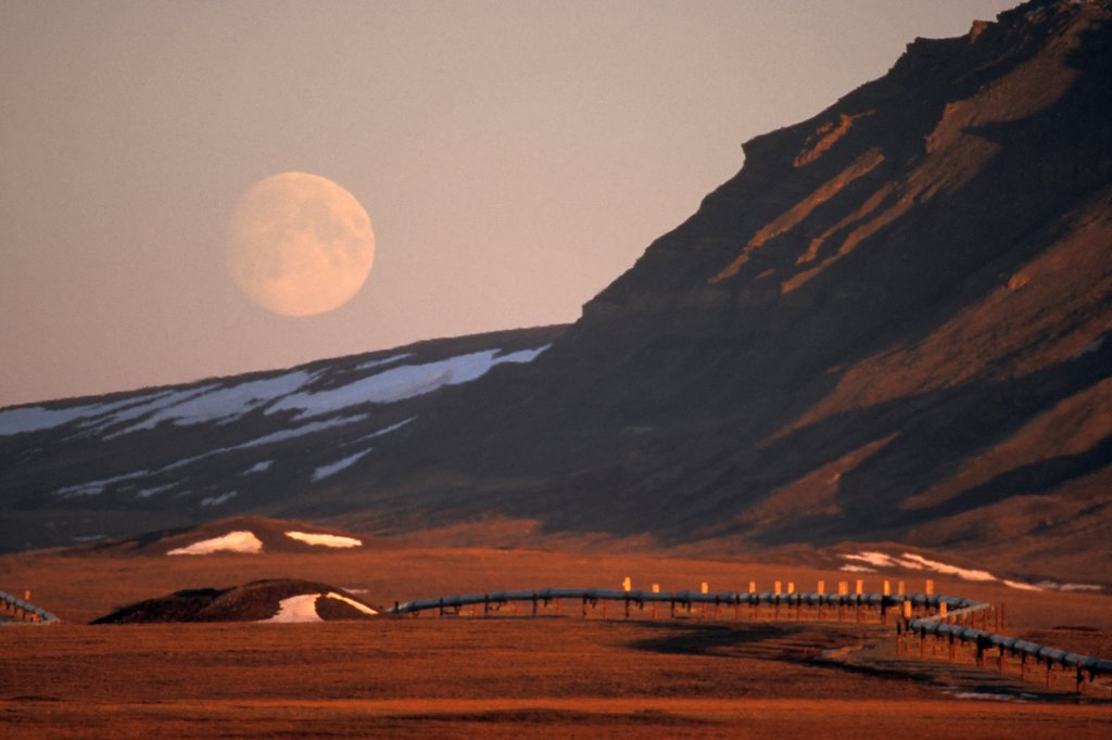 Stock Photo: 4340-641 Full Moon and the Trans-Alaskan Pipeline System
