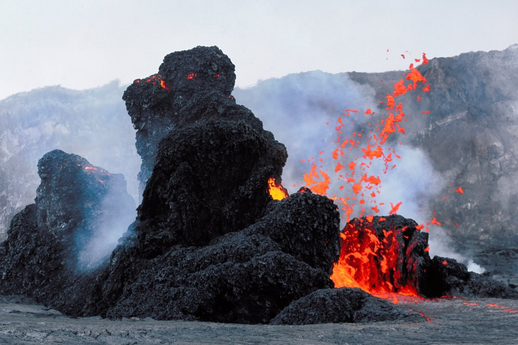Lava Erupting From Spatter Cones within Pu'u O'o Vent : Stock Photo