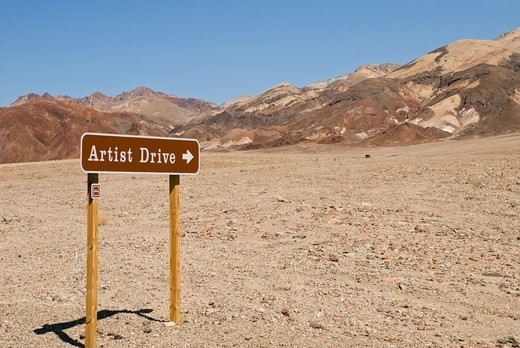 Stock Photo: 4351-256 Artist Drive runs by Artists' Palette in the Black Mountains of Death Valley National Park, California. The area is famed for its varied colors, caused by mineral oxidation. Death Valley is the lowest point in North America, 282 feet below sea level.