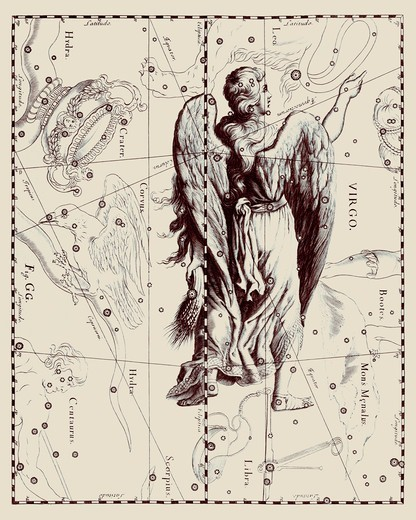 Stock Photo: 4351-542 A representation of the Zodiacal constellation of Virgo from the 'Firmamentum Sobiescianum sive Uranographia' of Johannes Hevelius of Danzig (modern Gdansk), 1687.