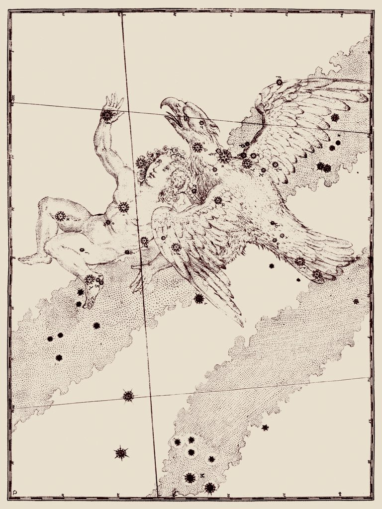 Stock Photo: 4351-592 A representation of the constellations of Aquila the Eagle, and the no longer recognized Antinous, created by the Emperor Hadrian for his dead lover, from the 'Uranometria' of Johann Bayer, published 1603, and engraved by Alexander Mair. This was the first modern Western star atlas based on new astronomy of Tycho Brahe and Johannes Kepler.