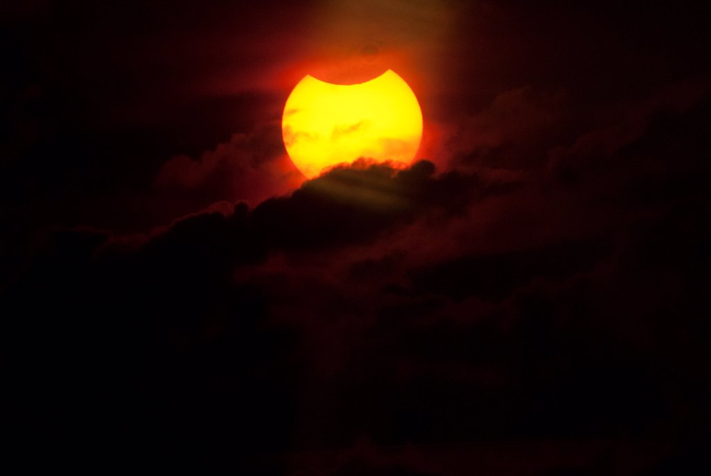 Australia, Total solar eclipse, start of event showing partial eclipse : Stock Photo