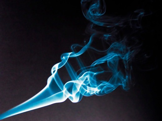 Stock Photo: 4353-200 Blue Smoke Against Black Background