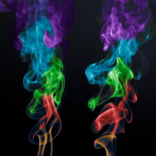 Stock Photo: 4353-203 Multicolored Smoke Against Black Background