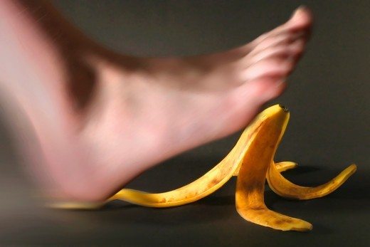 Stock Photo: 4353-209 Foot Slipping on Banana Peel