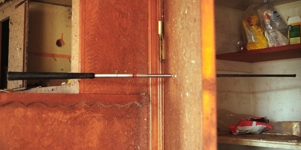 Stock Photo: 4354-147 Golf Club Shaft Impaled Through Kitchen Closet Door