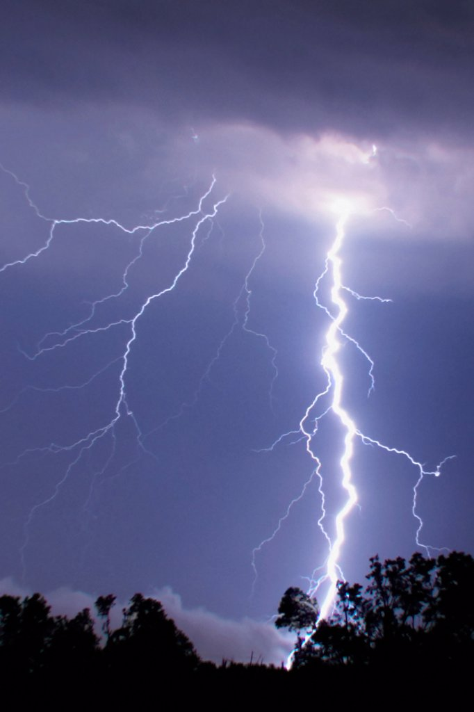 Stock Photo: 4354-284 Immense Cloud To Ground Lightning During a Night Thunderstorm