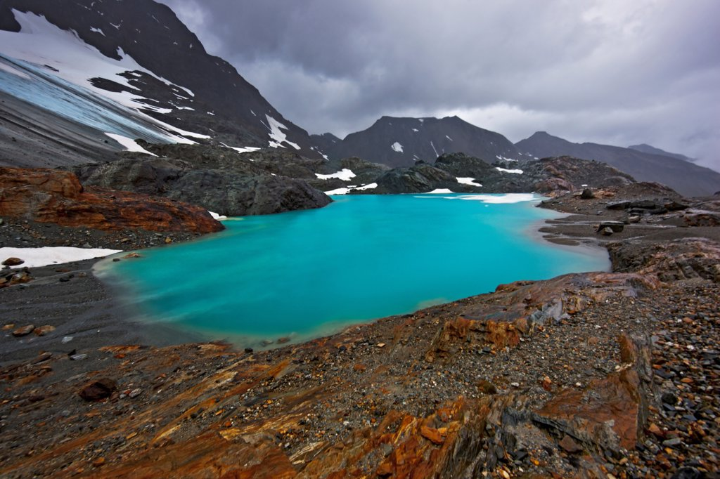 Stock Photo: 4355-1247 Lake by the Alvear Glacier
