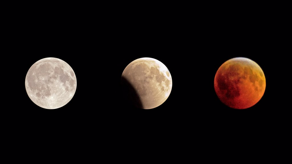 The lunar eclipse of 2010 in full view on a near cloudless Miami night. : Stock Photo