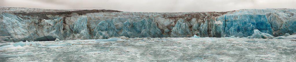 Stock Photo: 4355-2331 Norway, Greenland Sea, Monaco Glacier, Headwall of glacier, panoramic view