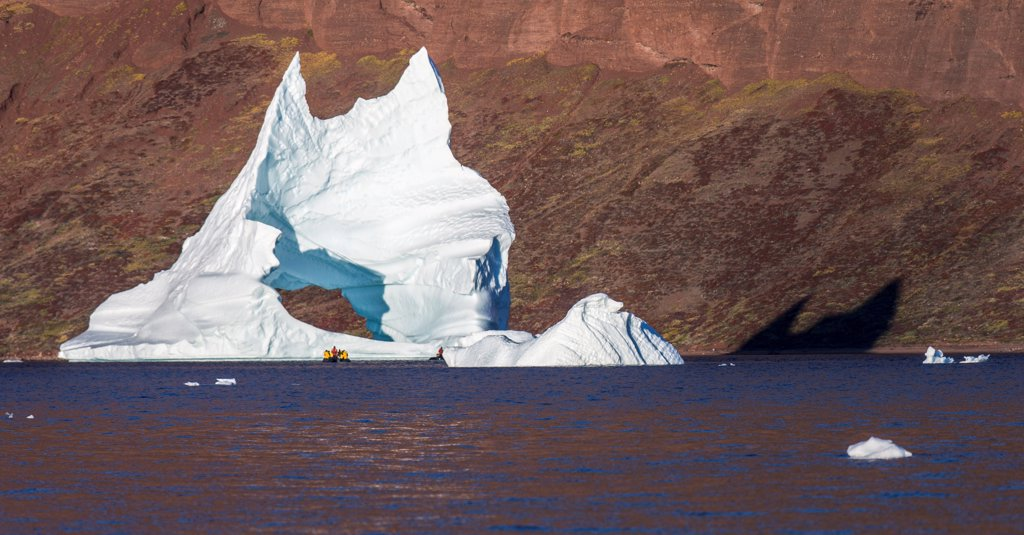 Stock Photo: 4355-2341 Greenland, Arched iceberg, panoramic view