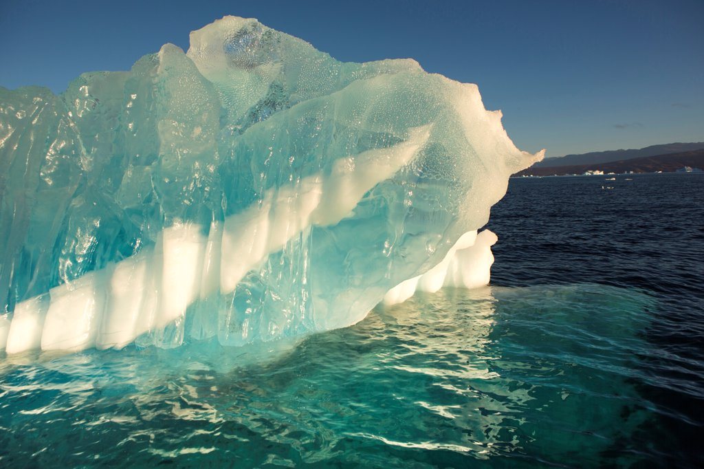 Greenland, Close-up of striped iceberg : Stock Photo