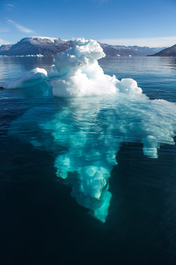 Stock Photo: 4355-2353 Greenland, Iceberg floating in pure water