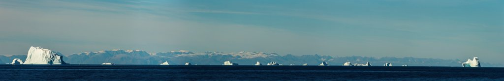 Stock Photo: 4355-2358 Greenland, Landscape with iceberg and rocky shore, panoramic view