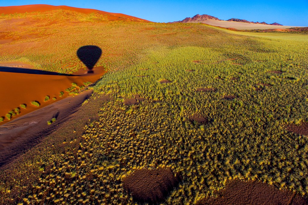 Namibia, Namib-Naukluft National Park, Soussusvlei, Hot air balloon shadow : Stock Photo
