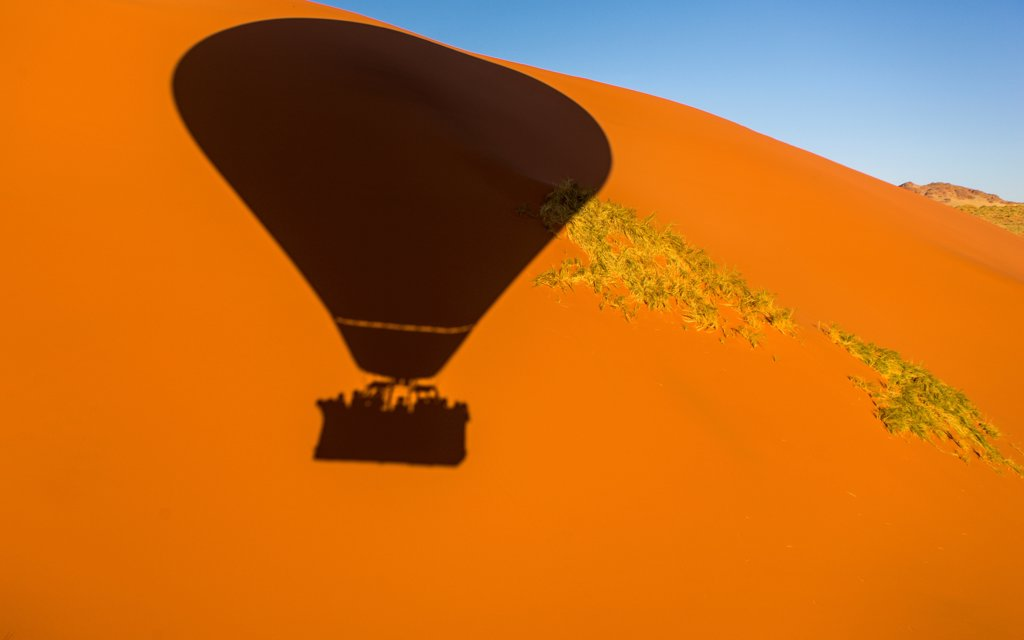 Stock Photo: 4355-2440 Namibia, Namib-Naukluft National Park, Soussusvlei, Hot air balloon shadow on sand dunes