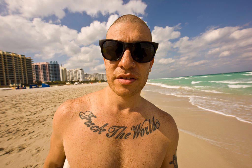 Stock Photo: 4355-276 Skim Boarder with Profane Tattoo